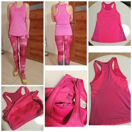 Koszulka bokserka z biustonoszem Nike różowe Dri-Fit r. M