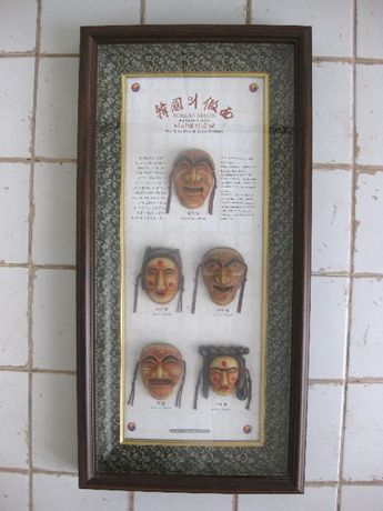 Традиционные корейские маски в рамке.