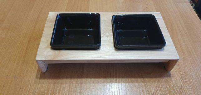 Zestaw 2 misek na drewnianym stojaku 2x0,2l Trixie