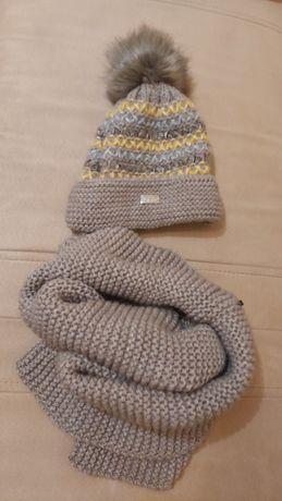 Komplet damski zimowy czapka i szal komin beżowy