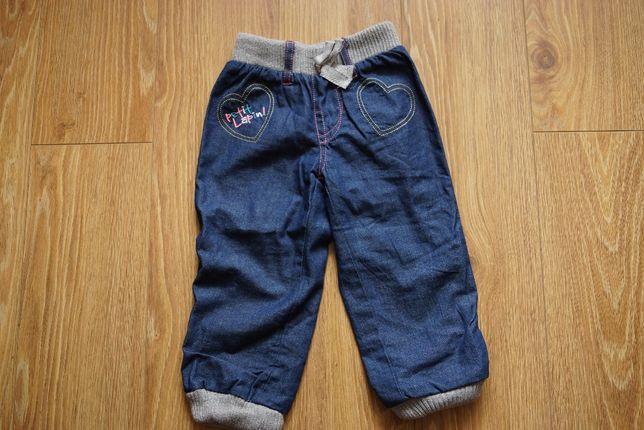 Spodnie jeansowe ocieplane 5 10 15 r.86