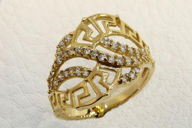 Złoty pierścionek 585 z cyrkoniami r. 19 Jubiler Goldrun Chorzów