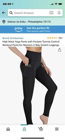 Лосины для йоги с высокой талией и карманами для тренировок с кон
