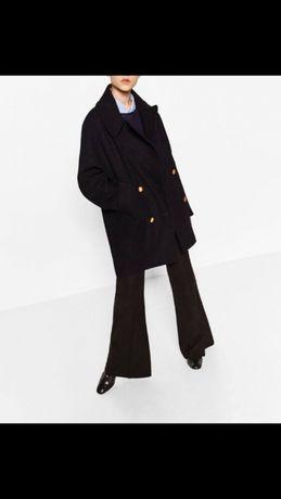 Czarny płaszcz ZARA rozmiar XS nowy wełna