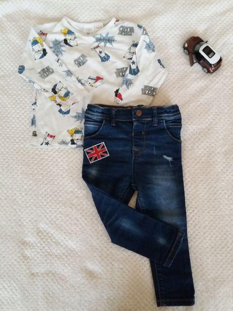 Zestaw ubranek Zara spodnie jeansowe koszulka 92 Stan idealny