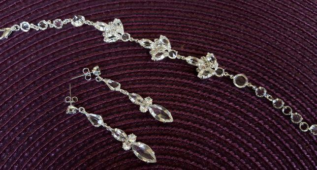 Biżuteria ślubna kolczyki bransoletka grzebyk