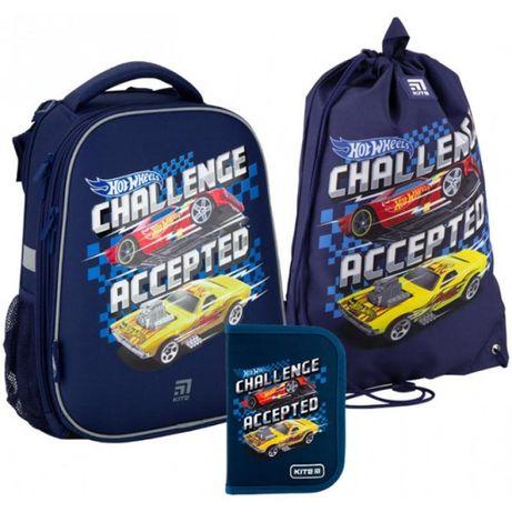 Комплект Кайт в 1 класс модели 20-555S:рюкзак-пенал-сумка.Хот вилс