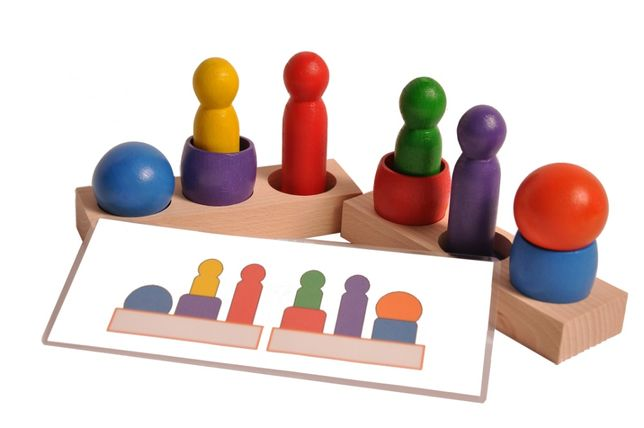 Układanka ludzik i kulka 6 kolorów + schematy i szczypce Montessori