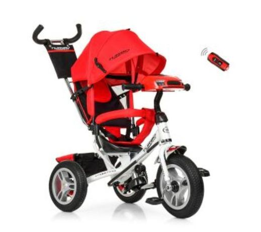 Велосипед трёхколёсный детский 3115 Красный с Белой рамой, ручка Фара