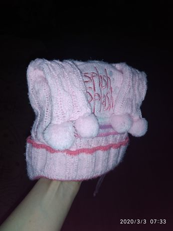 Теплая зимняя шапка на флисе на 1-3 годика