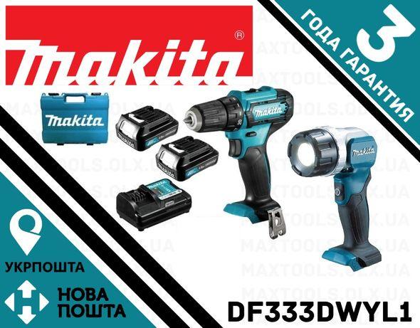 Шуруповерт аккумуляторный Makita DF333DWYE + фонарь Makita DEADML106