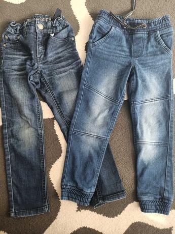 Zestaw spodnie jeansowe 110-116 chłopięce 2 pary