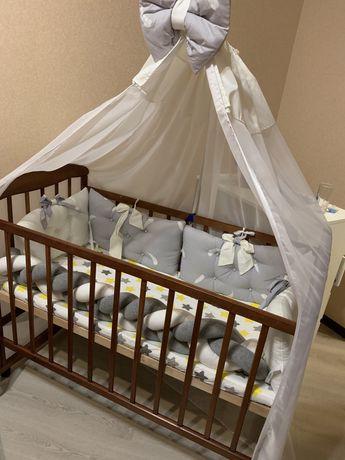 Кроватка-качалка детская кроватка деревянная на колесиках