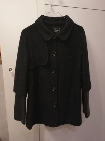Mohito elegancki krótki płaszczyk kurtka czarna srebrna nitka rozm. 38