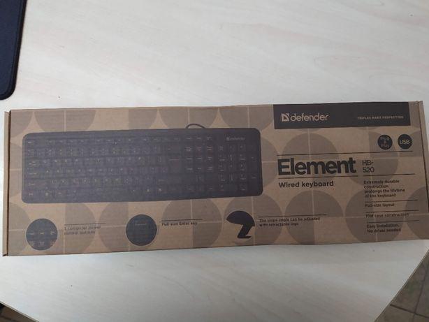 НОВАЯ клавиатура Defender Element HB-520 USB черная за 400 руб