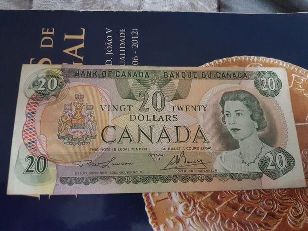 Nota de 20 Dollars Canada em muito bom estado.