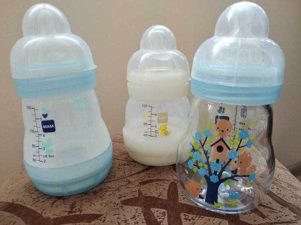 Бутылочки МАМ пластиковые стеклянная