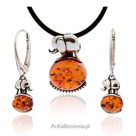 ankabizuteria.pl nausznica metal shop Komplet biżuterii bursztyn Słoni