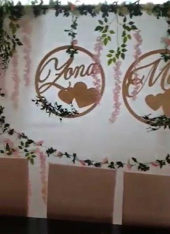 Ścianka weselna młoda para