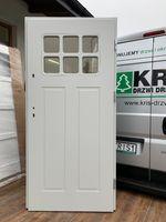 Drzwi zewnętrze siwe szare ocieplane drewniane