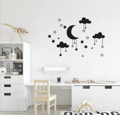 Naklejki ścienne chmurki, gwiazdki, księżyc, do pokoju dziecięcego