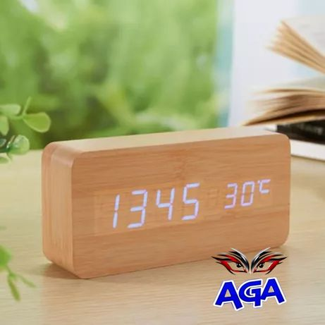 Zegar LED DREWNIANY Budzik Termometr Data