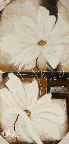NOWY Obraz ręcznie malowany 100X50 NOWOCZESNY FOLIA Białe lilie