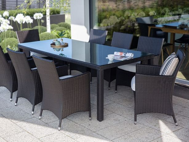 Conjunto de 2 cadeiras de jardim de rattan sintético castanho escuro ITALY - Beliani