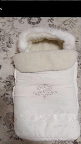 Детский зимний конверт на овчине