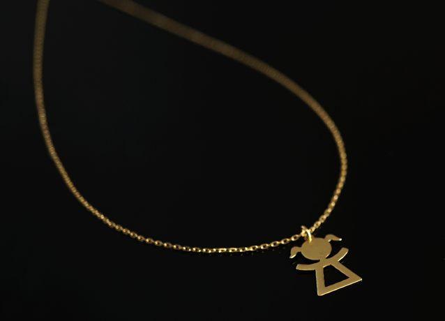 Złoto 585 - złoty łańcuszek Celebrytka z dziewczynką