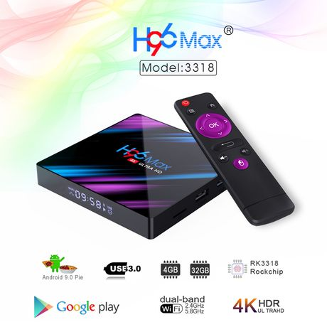 Android TV box H96 MAX 4/32GB Android 9.0 - usb 3.0 - Wifi