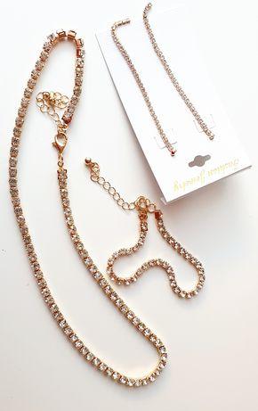 Zestaw bransoletka+łańcuszek+kolczyki cyrkoniami w złocie