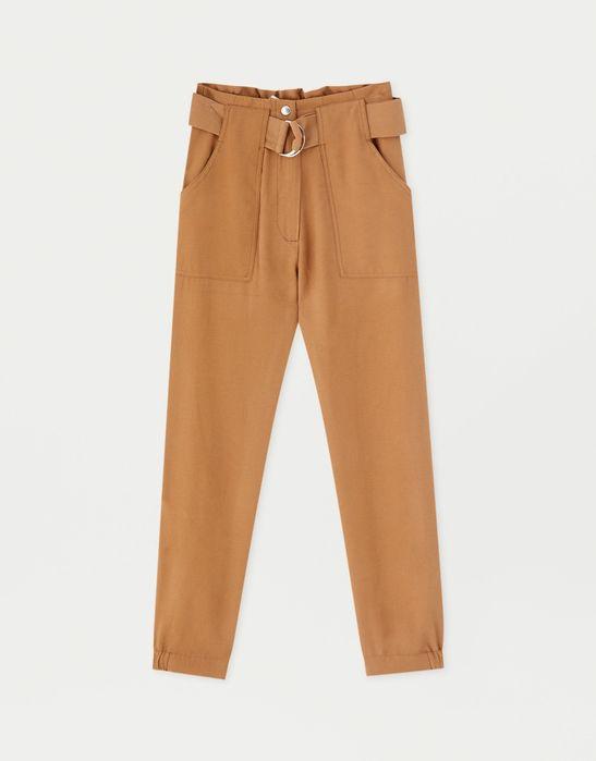 Spodnie eleganckie Pull and Bear nowe brąz camel dresowe materialne Jaworzno - image 1