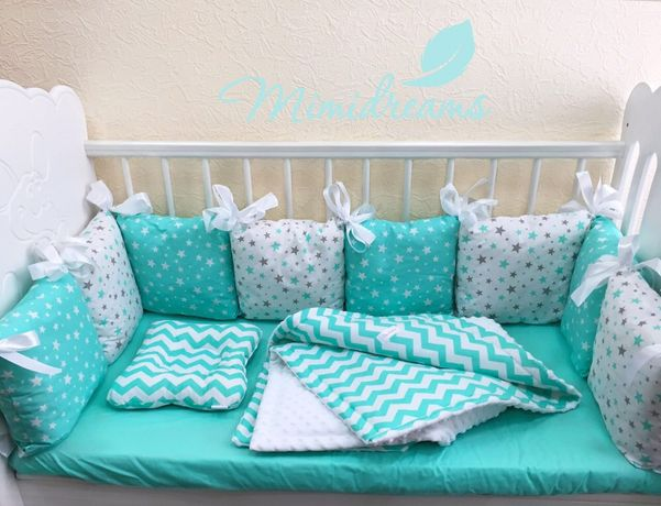 Бортики в кроватку с детским постельным бельём в наличии