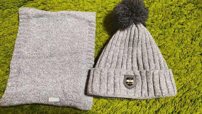 Зимний комплект: шапка и снуд +подарок!