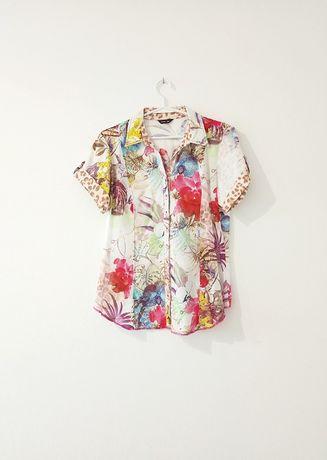 Otto Kern wzorzysta zwierzęca kwiatowa koszula krótki rękaw