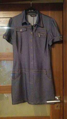 Sukienka tunika rozpinana granatowa z rekawem jeansowa