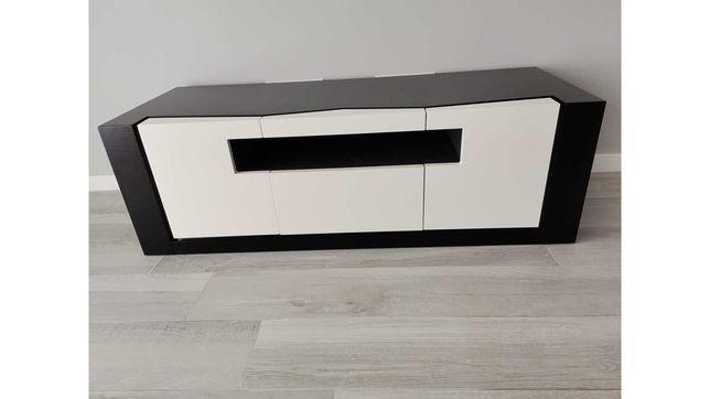 consola de tv wéngue e lacado branco