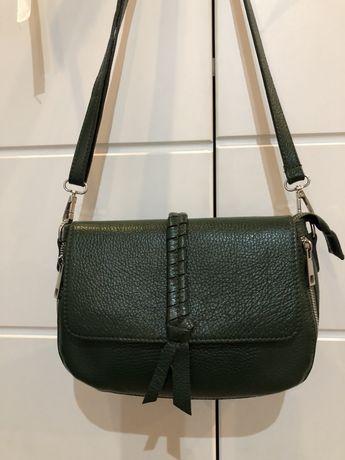 Zielona skórzana torebka