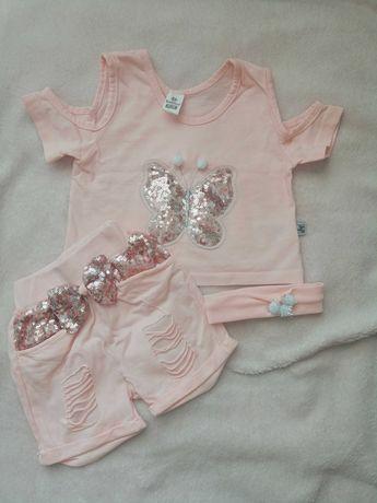 różowy komplet bluzeczka i spodenki