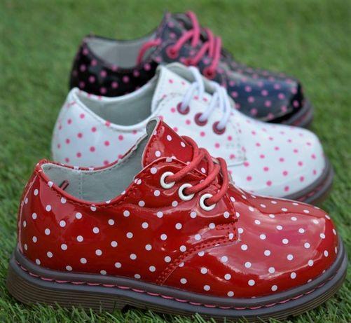 Детские демисезонные лаковые ботинки туфли черные красный белый р23-28