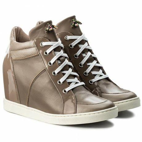 Trampki sneakersy na koturnie skora naturalna gino rossi