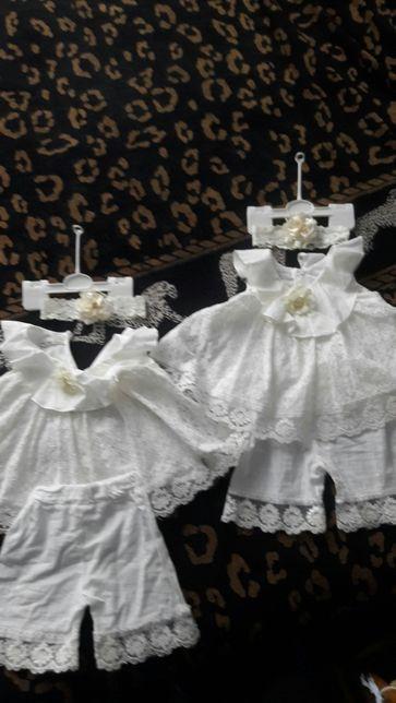 Костюмчик на лето, крестильный набор для двойни, близнецов