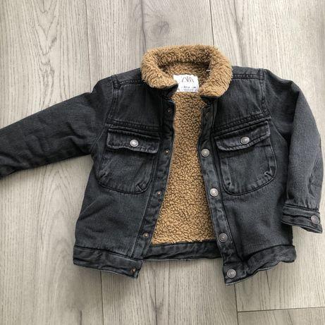 Kultowa kurtka jeansowa ocieplana zara baranek 98