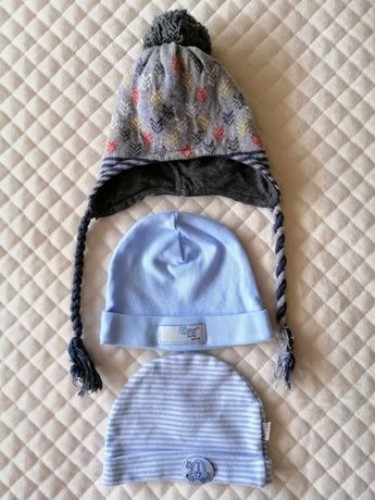 3 czapki niemowlęce r.56