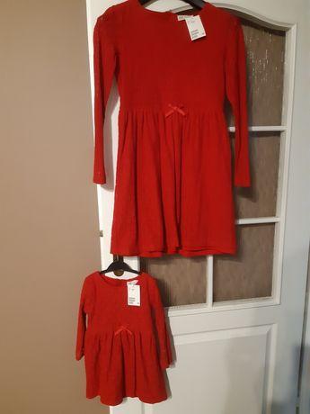 Sukienki h&m 98-104, 2-4lata XS 158-164 dla sióstr mama i córka czerwo
