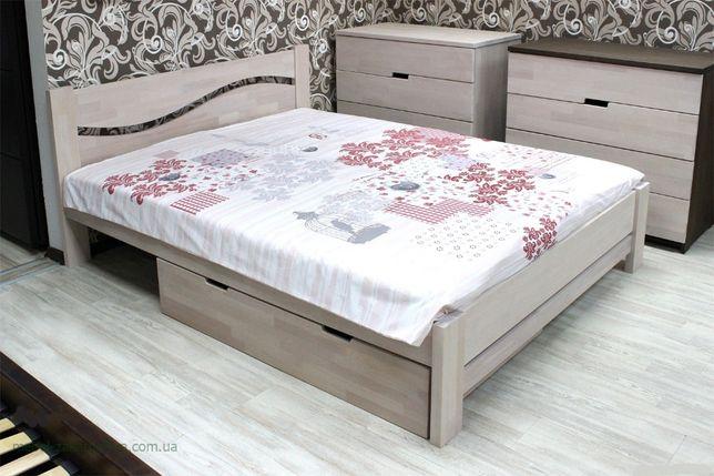 Кровать деревянная двуспальная с ящиком. Мебель в спальню бук - дуб.