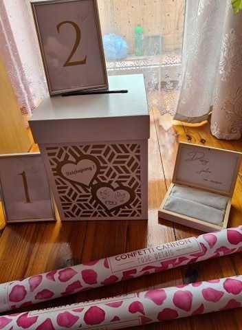 konfetti x2, pudełko na koperty i obrączki, numeracja stołów Lublin - image 1