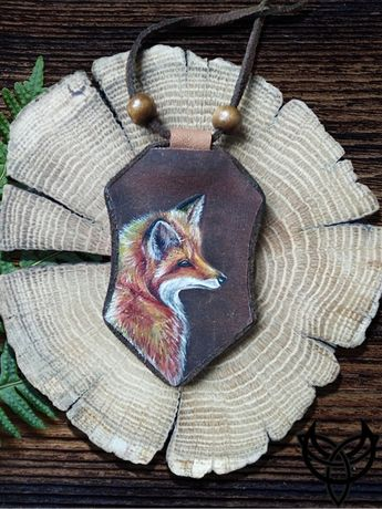 Кулон натуральная кожа лиса лис Hand-made подвеска украшение хенд мейд
