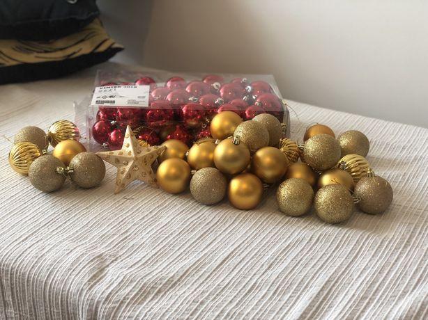Natal- Bolas de Natal vermelhas e douradas